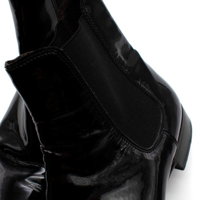 Max Verre Black Patent Leather Boots - Size 9 For Sale 2