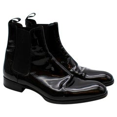 Max Verre Black Patent Leather Boots - Size 9