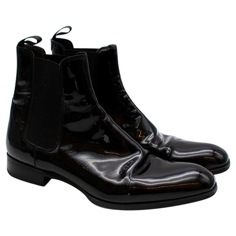 Max Verre Black Patent Leather Boots - Size 9 For Sale
