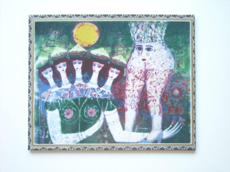Modern Max Walter Svanberg Painted Ceramic Tile, for Rorstrand, Signed Titled in Bac For Sale