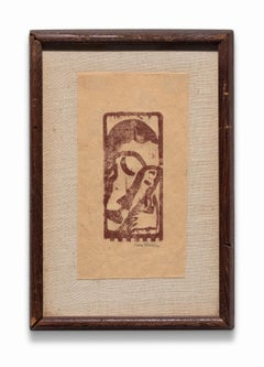 """""""Perfection - Greek"""", Woodcut Print from """"Primitives"""" Poetry Book, Signed"""