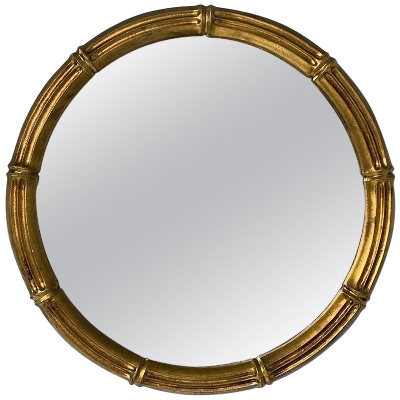 Max Welz Giltwood Faux Bamboo Wall Mirror, 1940s, Austria