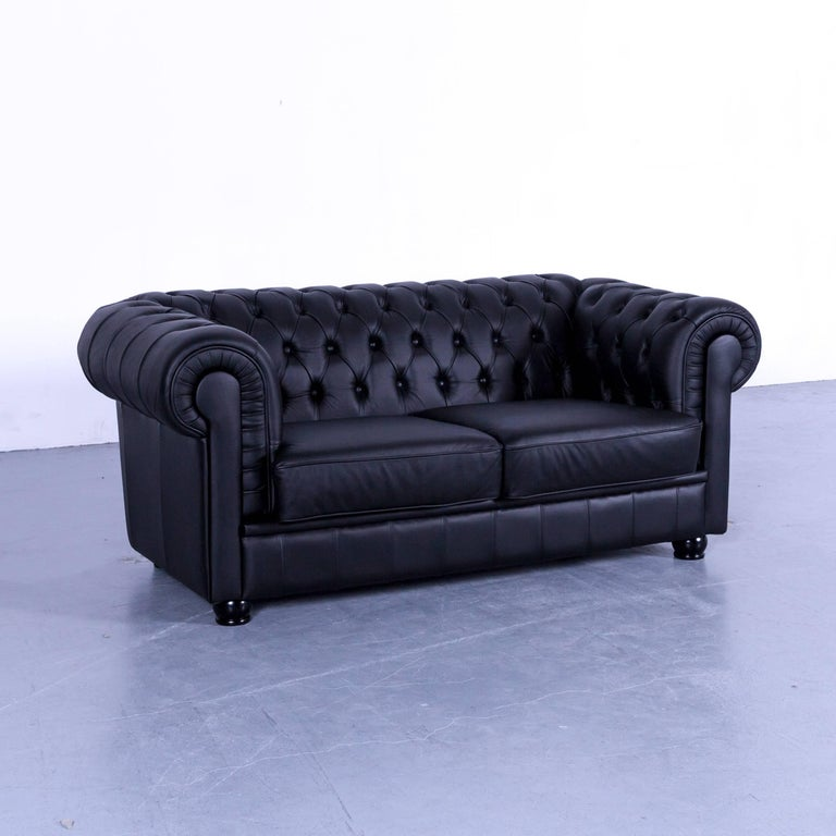Vintage Black Leather Chesterfield Sofa: Max Winzer Chesterfield Sofa Black Leather Two-Seat Couch