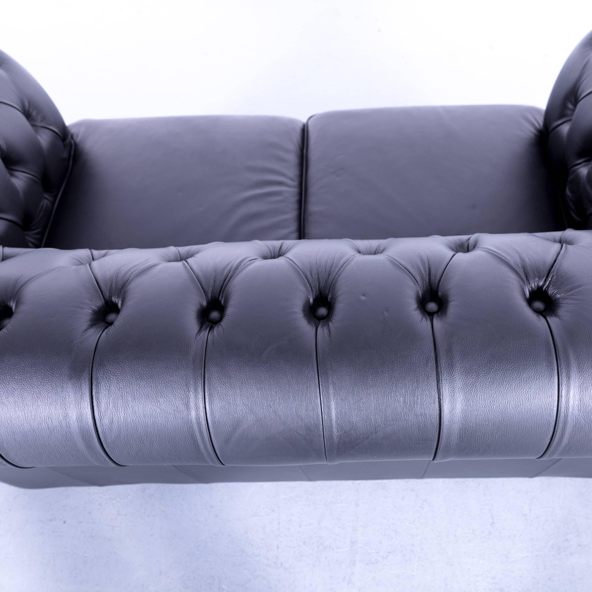 Max Winzer Chesterfield Sofa Black Leather Two Seat Couch Vintage Retro  Rivets For Sale 1