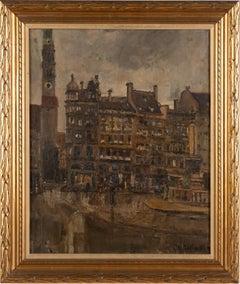 Antique Signed German Cityscape Town Center Street Scene Framed Oil Painting