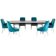 Maxalto by B&B Italia Max Wood Dining Table Set Black Table Chair Velvet Wood