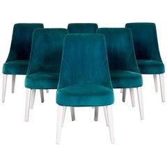 Maxalto by B&B Italia Velvet Chair Set Turquoise
