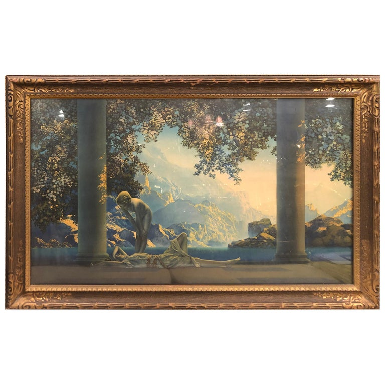 """Maxfield Parrish Famous Large Framed Print of """"DayBreak"""" For Sale"""