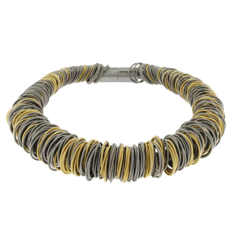 Maxi One Stainless Steel and Gold-Plated Stainless Steel Necklace In New Condition For Sale In Torino, IT
