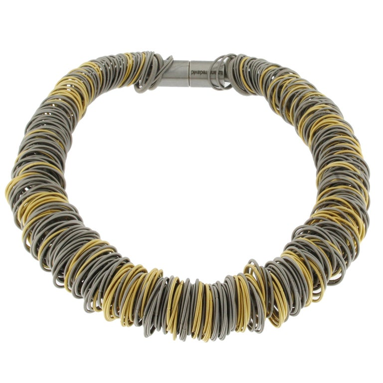 Maxi One Stainless Steel and Gold-Plated Stainless Steel Necklace For Sale 1
