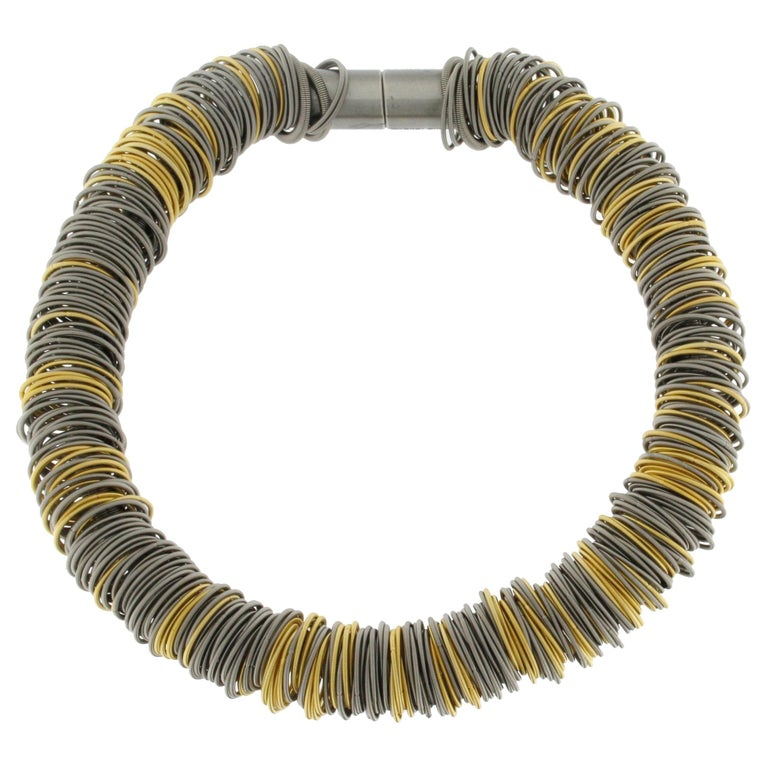 Maxi One Stainless Steel and Gold-Plated Stainless Steel Necklace For Sale