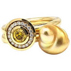 Maxi Splash Ring with 0.38 Carat with Diamonds and a Yellow Gold Pearl