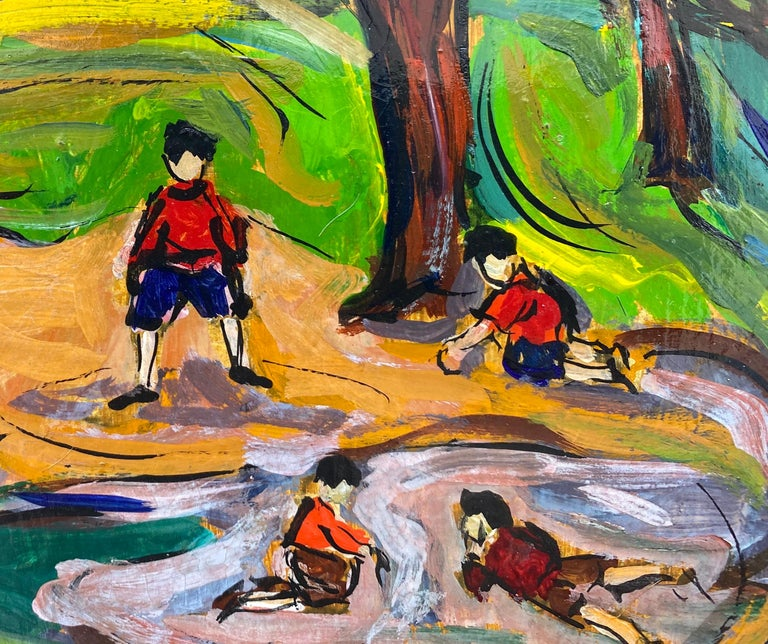 """""""Boys in the Park"""" - Post-Modern Painting by Maxim Bugzester"""