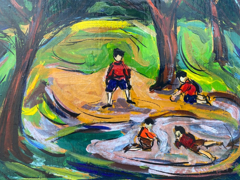 """""""Boys in the Park"""" - Brown Figurative Painting by Maxim Bugzester"""