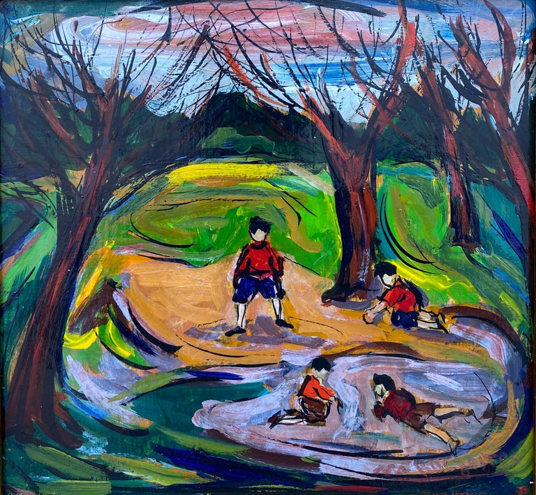 """Maxim Bugzester Figurative Painting - """"Boys in the Park"""""""