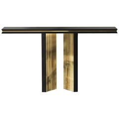 Maxima Console Table with Gold Plated Brass