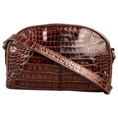 MAXIMA for HENRI BENDEL Brown Alligator Shoulder Bag Handbag