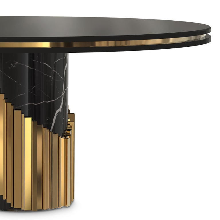 Blackened Maxima Round Table with Black Marble Base For Sale