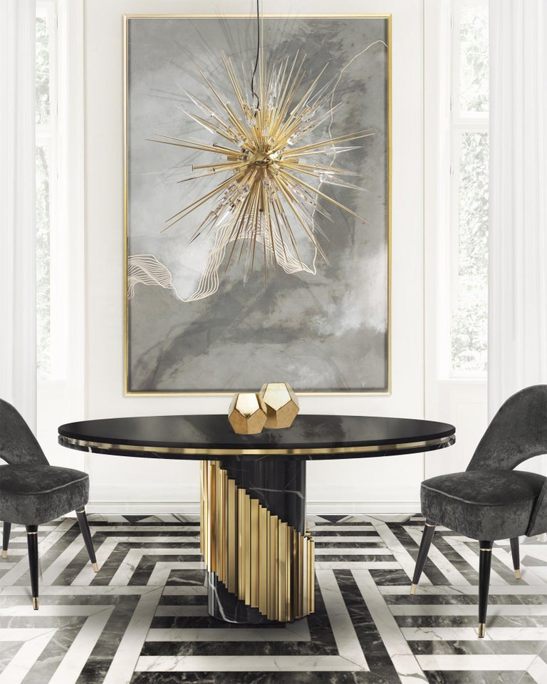 Maxima Round Table with Black Marble Base For Sale 1