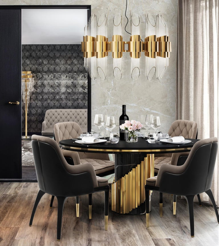 Maxima Round Table with Black Marble Base For Sale 2