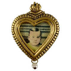 Maximal Art Vintage 1980s Sacred Heart Gold-Tone and Seed Pearl Portrait Pin