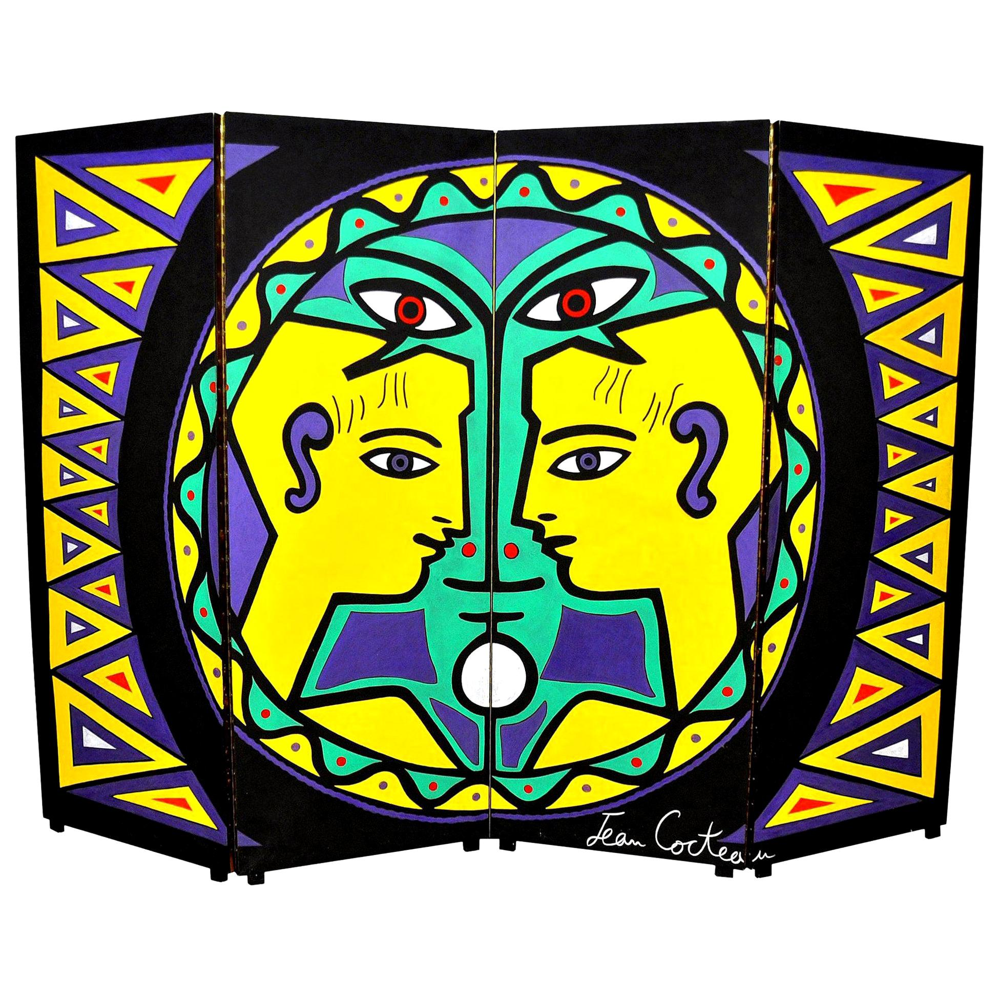 Maximalist Four-Panel Hand Painted Screen, after Jean Cocteau