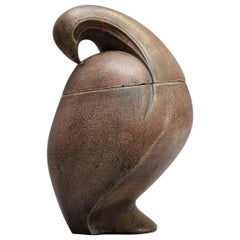 Maxime Fillon Ceramic Covered Pot in the Shape of a Stylized Dove