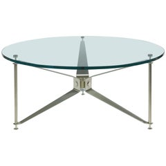 Maxime Old Hélice table in Glass and Brushed Stainless Steel