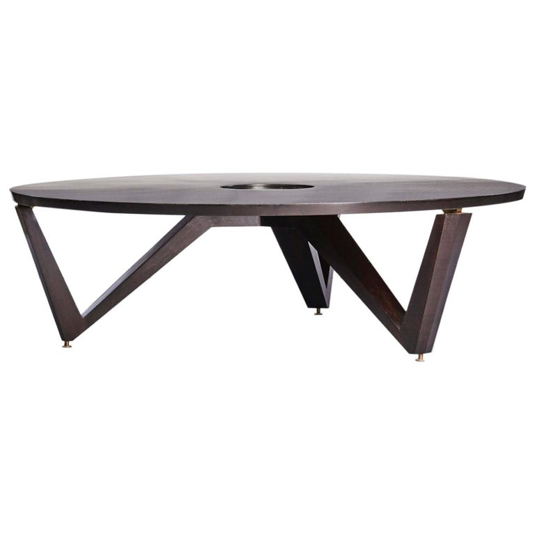Maxime Old Saturne Table Made of Cuba Mahogany Wood and Glass For Sale