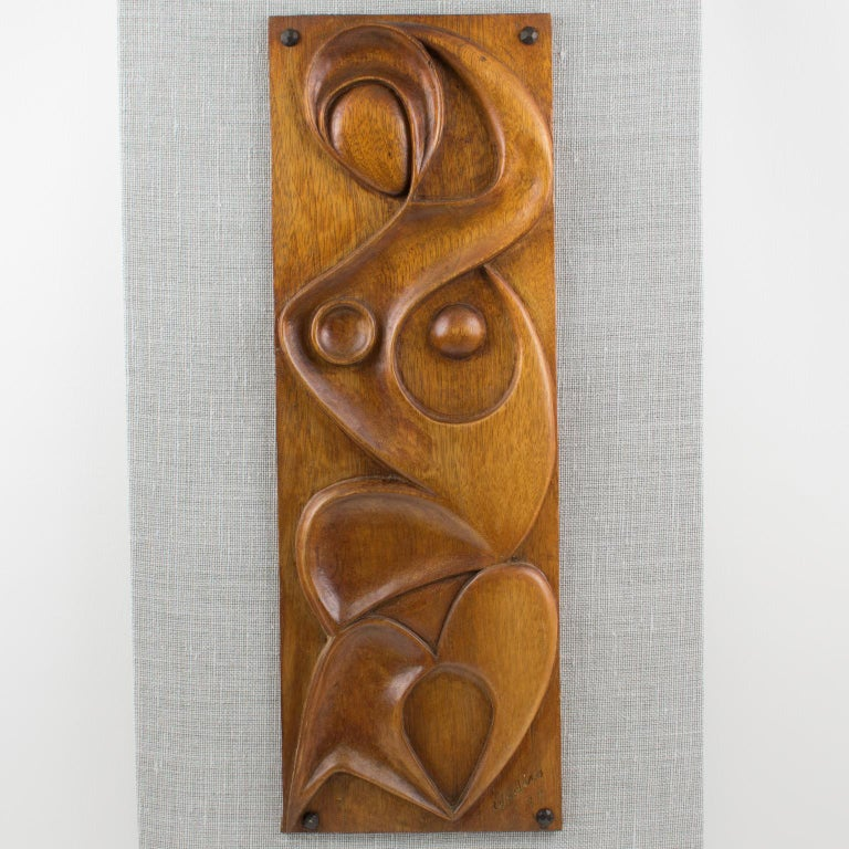 Late 20th Century Maxime Tendero 1973 Abstract Wooden Wall-Mounted Art Sculpture Panel For Sale