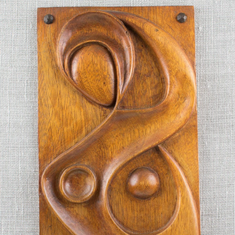 Jute Maxime Tendero 1973 Abstract Wooden Wall-Mounted Art Sculpture Panel For Sale