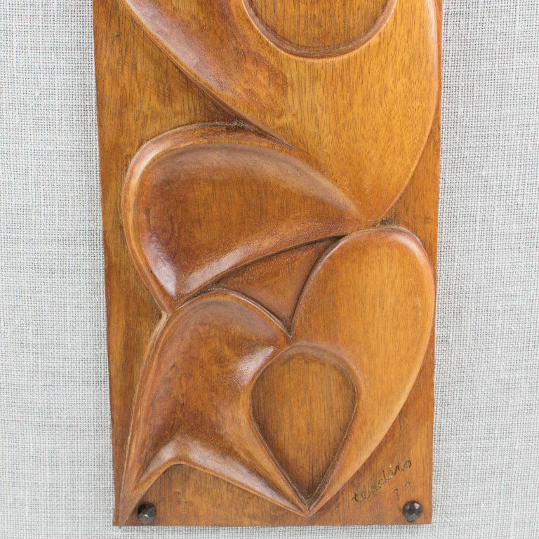 Maxime Tendero 1973 Abstract Wooden Wall-Mounted Art Sculpture Panel For Sale 1