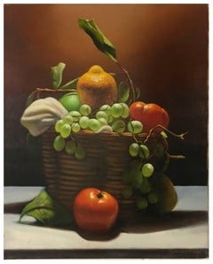 BASKET OF FRUIT - Itlian still life oil on canvas painting, Maximilian Ciccone