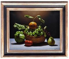Basket With Fruit -Maximilian Ciccone Oil On Canvas Italian Still Life Painting