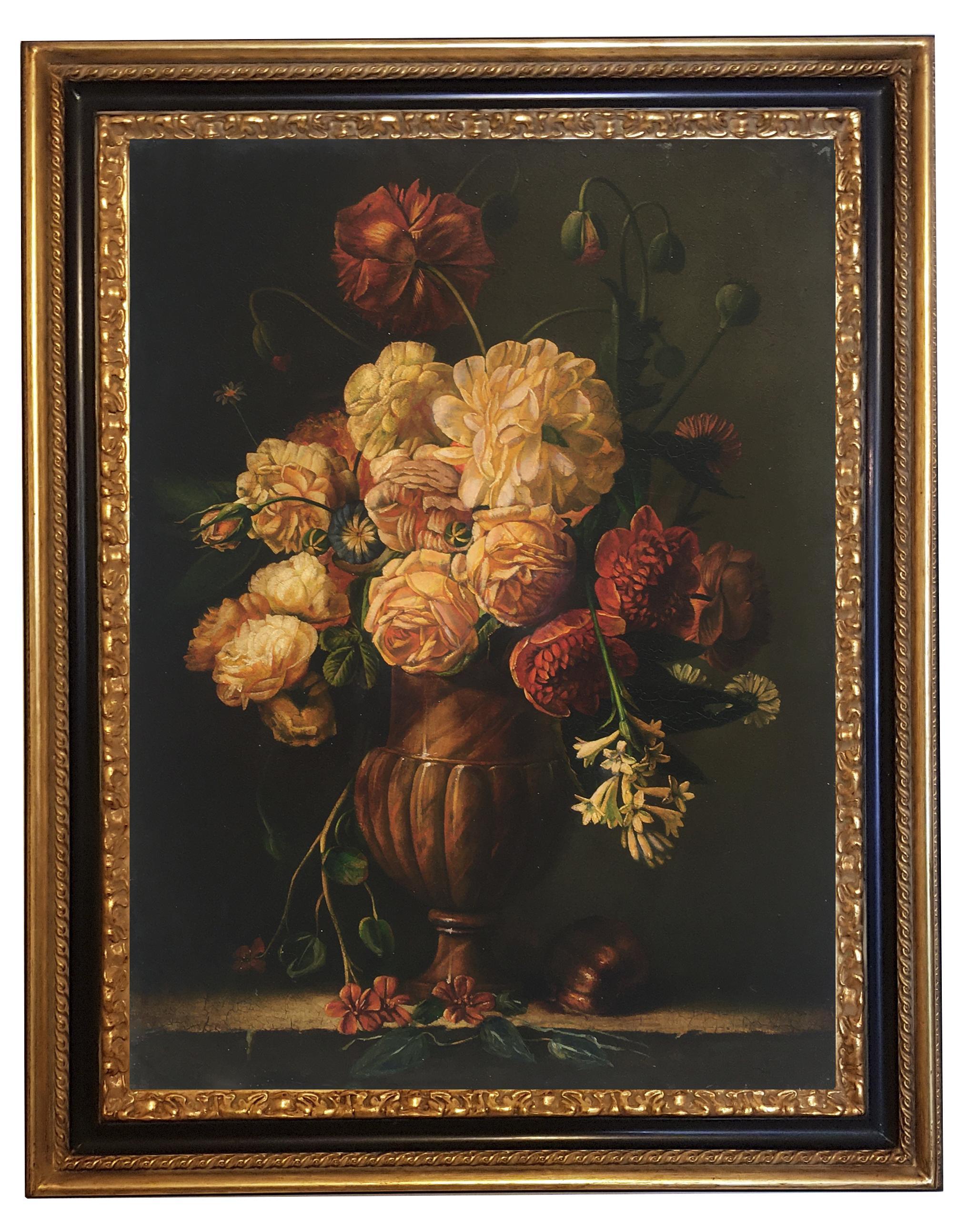 FLOWERS - In the Manner of Mario Dei Fiori - Oil On Canvas Italian Painting