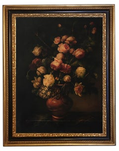FLOWERS -In the Manner of Mario Dei Fiori -Oil On Canvas Italian Painting