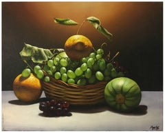 LEMON, GRAPE AND PUMPKIN - M. Ciccone Italian still life oil on canvas painting