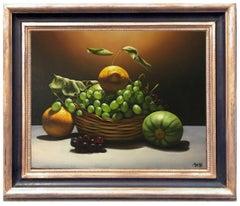 LEMON, GRAPE AND PUMPKIN - M. Ciccone Italian still life oil on canvas painting