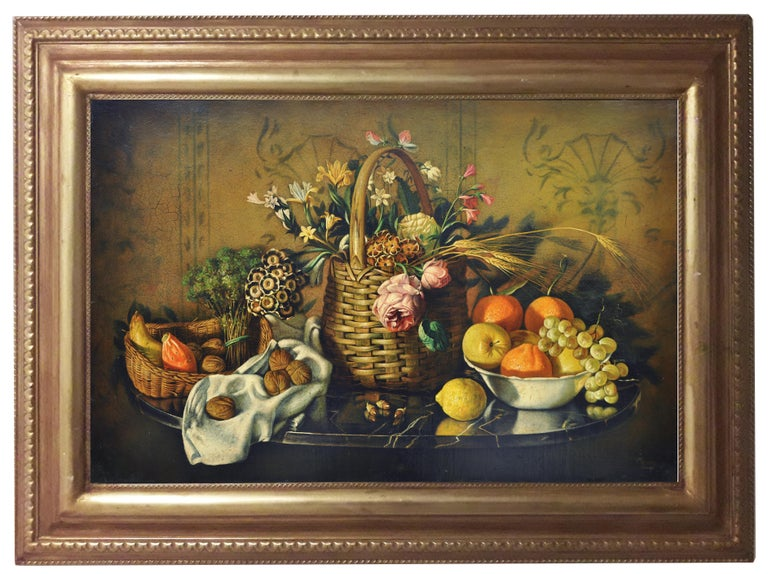 STILL LIFE OF FLOWERS AND FRUIT - Italian School - Oil on Canvas Italy Painting  - Brown Still-Life Painting by Maximilian Ciccone