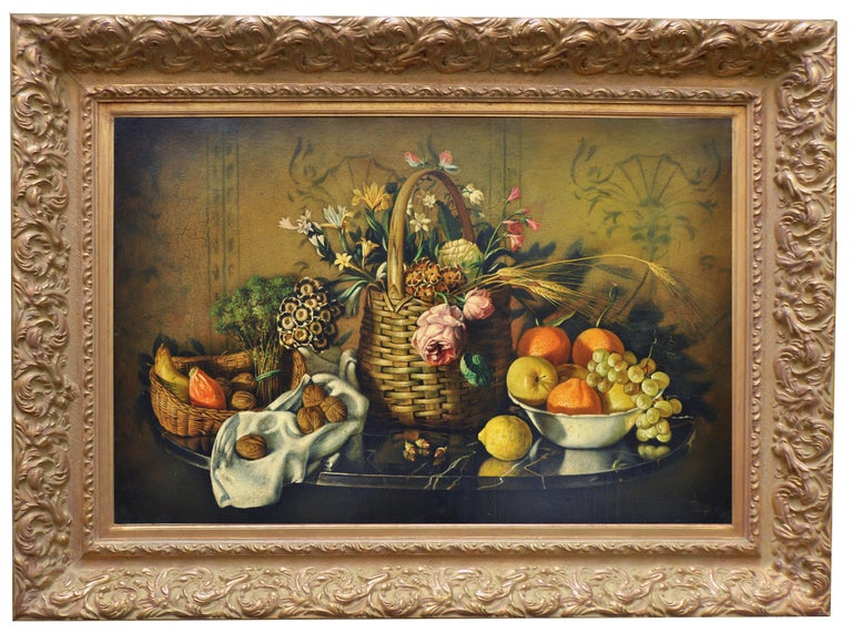 Still life of Flowers and Fruit - Maximilian Ciccone Italia 2002 - Oil on canvas cm.60x90. Gold leaf gilded  wooden available on request.  This oil on canvas painting is an incredible example of the artist's ability to capture breathtaking detail