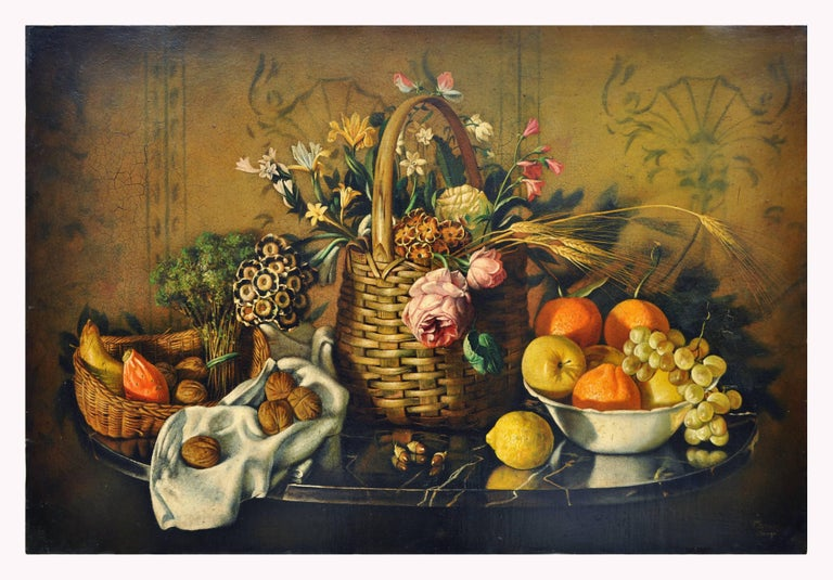STILL LIFE OF FLOWERS AND FRUIT - Italian School - Oil on Canvas Italy Painting  For Sale 1