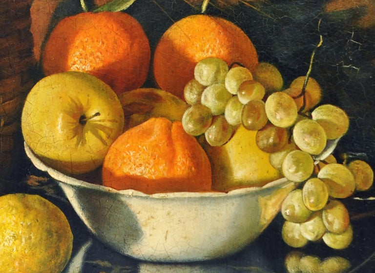STILL LIFE OF FLOWERS AND FRUIT - Italian School - Oil on Canvas Italy Painting  For Sale 3