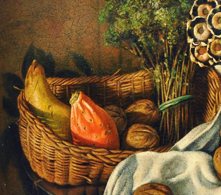 STILL LIFE OF FLOWERS AND FRUIT - Italian School - Oil on Canvas Italy Painting  For Sale 4
