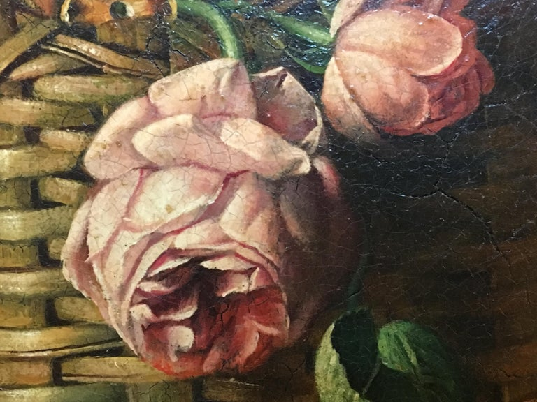 STILL LIFE OF FLOWERS AND FRUIT - Italian School - Oil on Canvas Italy Painting  For Sale 5