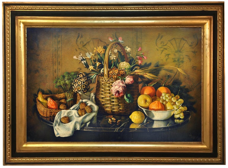 Maximilian Ciccone Still-Life Painting - STILL LIFE OF FLOWERS AND FRUIT - Italian School - Oil on Canvas Italy Painting