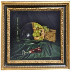 THE LENS AND THE GRAPES - M. Ciccone Italian still life oil on canvas painting