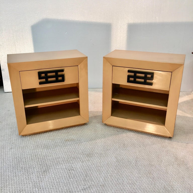 Mid-Century Modern Maximilian Karp Pair of Nightstands For Sale