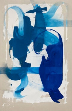 Blues Two - abstract, painting, expressive art, Contemporary art, blue, minimal