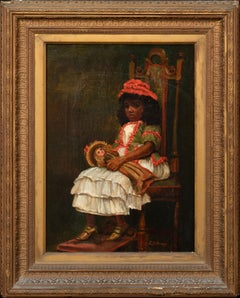 Portrait Of A Black Girl Holding A Doll, circa 1890