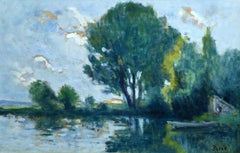 Bords de Seine - 19th Century Oil, Trees in Riverscape by Maximillien Luce